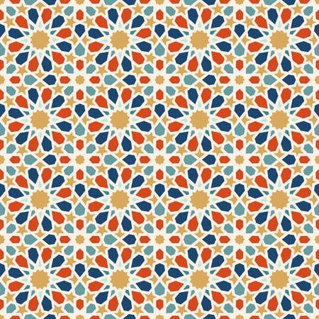 전통적인 이슬람 세라믹 모자이크 타일 얽힌 된 추상 형상 모양 장식과 원활한 패턴 타일. EPS10 벡터입니다.