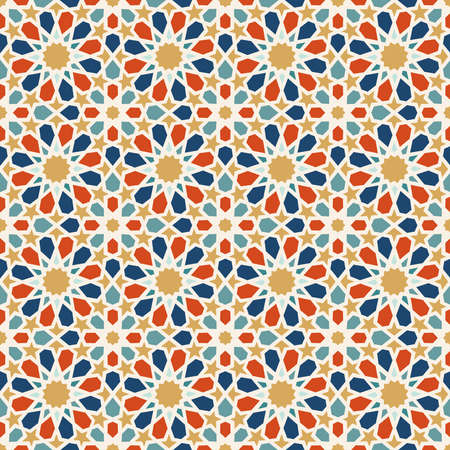 Traditional muslim ceramic mosaic tile seamless pattern with entwined abstract geometric shape decoration. EPS10 vector. Фото со стока - 82823655
