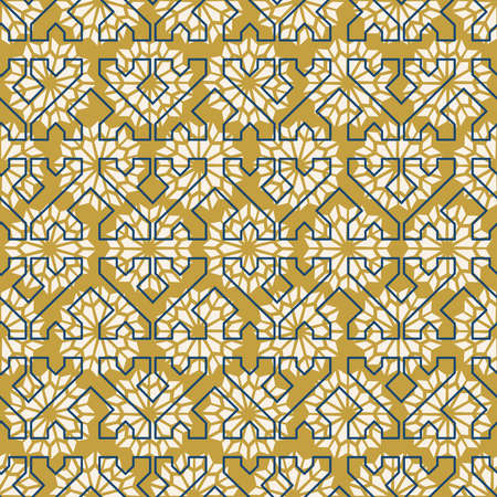 Classic Moorish arabic ceramic mosaic tile seamless pattern with abstract geometric shape decoration. EPS10 vector.