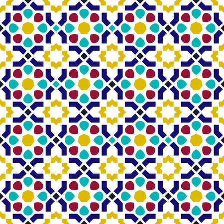Classic arab ceramic mosaic tile seamless pattern with abstract geometric shape decoration based on traditional oriental Moorish patterns.  EPS10 vector. Banco de Imagens - 82823516