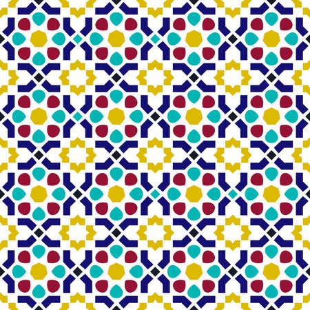 Patrón sin fisuras de baldosas de mosaico de cerámica árabe clásico con decoración de forma geométrica abstracta basada en patrones mora tradicionales orientales. Vector EPS10.