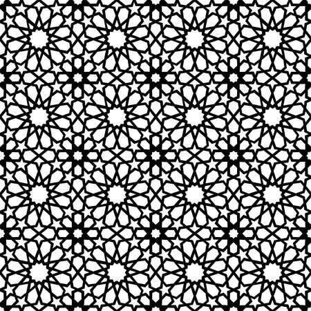Het klassieke Arabische ceramische naadloze patroon van de mozaïektegel met abstracte zwart-witte moslim geometrische vormdecoratie. EPS10 vector.