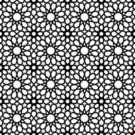 Classic Arab ceramic mosaic tile seamless pattern with abstract black and white muslim geometric shape decoration. EPS10 vector. Vettoriali