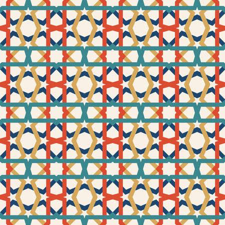 古典的なセラミック モザイクは、抽象的な幾何学的図形の装飾とのシームレスなパターンを並べて表示します。伝統的な東洋のムーア パターンに基