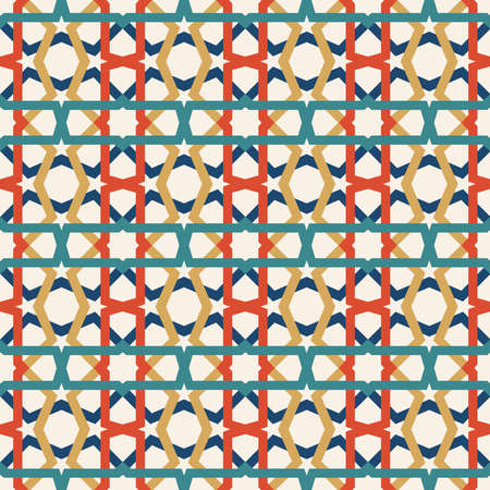 Classic ceramic mosaic tile seamless pattern with abstract geometric shape decoration. Entwined modern tiled pattern based on traditional oriental Moorish patterns. EPS10 vector.