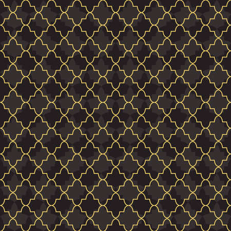 Arab gold luxury seamless pattern decoration with mosque abstract geometric shapes. EPS10 vector.