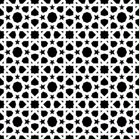 Reticolo senza giunte della piastrella di ceramica del mosaico dell'annata con la decorazione astratta di figura geometrica in bianco e nero astratto. Modello piastrellato intrecciato basato su modelli tradizionali orientali moreschi. EPS10 vettore. Archivio Fotografico - 82823528