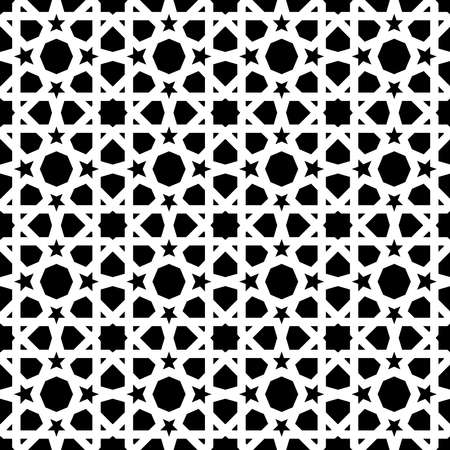 Vintage ceramic mosaic tile seamless pattern with abstract black and white geometric shape decoration. Entwined tiled pattern based on traditional oriental Moorish patterns.EPS10 vector. Иллюстрация