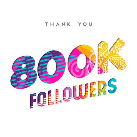 800000 信者ありがとうございます紙はカット数の図です。特別な 800 k ユーザー ゴール 80 万ソーシャル メディア友達、ファンまたはサブスクライバー