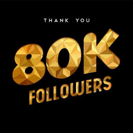 80000 seguidores de agradecimiento oro número de corte de ilustración de papel. Celebración especial de objetivos de 80k usuarios para ochenta mil amigos de medios sociales, aficionados o suscriptores. EPS10 vector.
