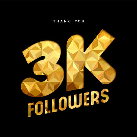 3000 followers thank you gold paper cut number illustration. Special 3k user goal celebration for three thousand social media friends, fans or subscribers. EPS10 vector.