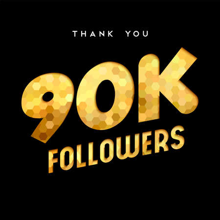 90000 followers thank you gold paper cut number illustration. Special 90k user goal celebration for ninety thousand social media friends, fans or subscribers. EPS10 vector.