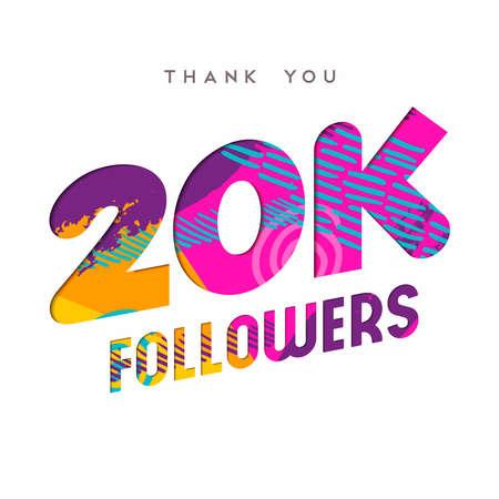 20000 フォロワーありがとうございます紙はカット数の図です。特別な 20 k ユーザー ゴール 2 万ソーシャル メディア友達、ファンまたはサブスクライ