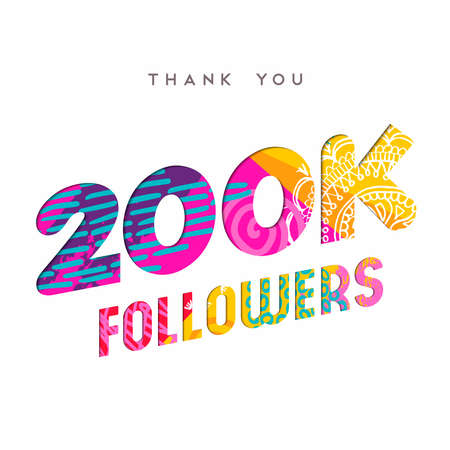 200000 followers thank you paper cut number illustration. Special 200k user goal celebration for two hundred thousand social media friends, fans or subscribers. EPS10 vector. Ilustrace