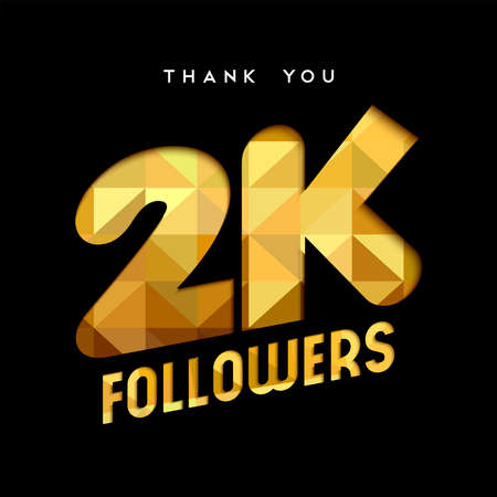 2000 followers thank you gold paper cut number illustration. Special 2k user goal celebration for two thousand social media friends, fans or subscribers. EPS10 vector.