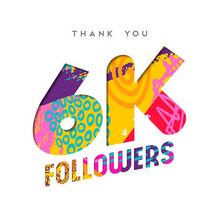 6000 followers thank you paper cut number illustration. Special 6k user goal celebration for six thousand social media friends, fans or subscribers. EPS10 vector. Ilustrace