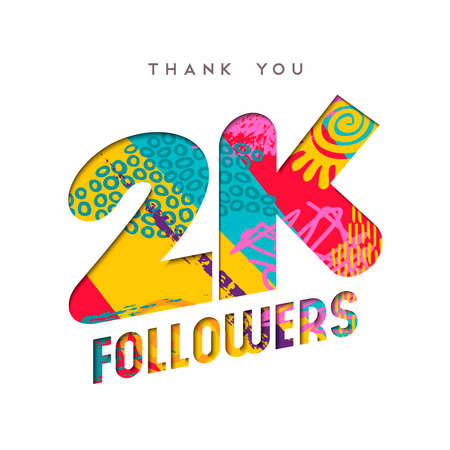 2000 followers thank you paper cut number illustration. Special 2k user goal celebration for two thousand social media friends, fans or subscribers. EPS10 vector.