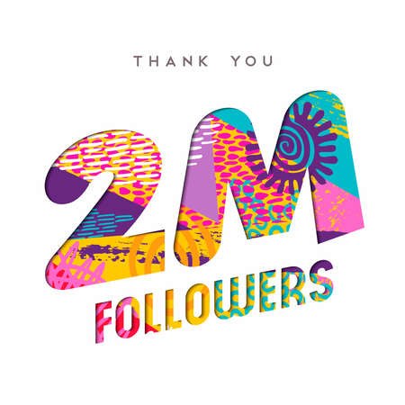 2 million followers thank you paper cut number illustration. Special user goal celebration for 2000000 social media friends, fans or subscribers. EPS10 vector.