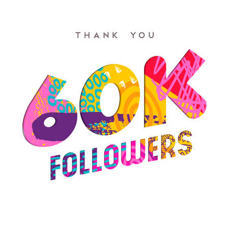 60000 followers thank you paper cut number illustration. Special 60k user goal celebration for sixty thousand social media friends, fans or subscribers. EPS10 vector.