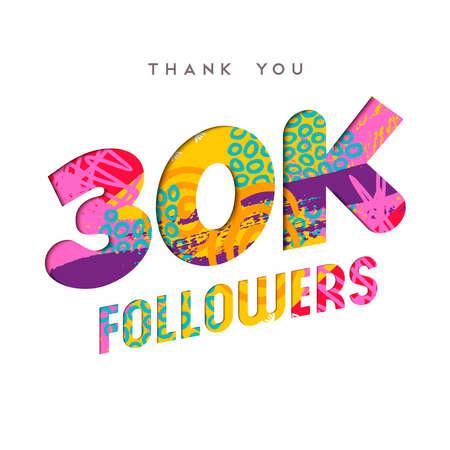30000 seguaci grazie illustrazione numero di carta tagliata. Celebrazione speciale degli utenti di 30k per trentamila amici, fan o abbonati di social media. Vettore EPS10. Vettoriali