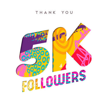5000 followers thank you paper cut number illustration. Special 5k user goal celebration for five thousand social media friends, fans or subscribers. EPS10 vector.