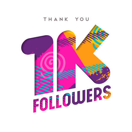 1000 followers thank you paper cut number illustration. Special 1k user goal celebration for one thousand social media friends, fans or subscribers. EPS10 vector.