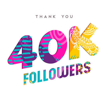 40000 followers thank you paper cut number illustration. Special 40k user goal celebration for forty thousand social media friends, fans or subscribers. EPS10 vector. Ilustrace
