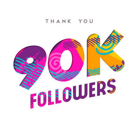 90000 followers thank you paper cut number illustration. Special 90k user goal celebration for ninety thousand social media friends, fans or subscribers. EPS10 vector.