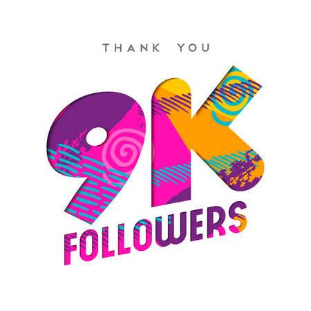 9000 フォロワーありがとうございます紙はカット数の図です。9 k ユーザー目標記念 9 1000 ソーシャル メディア友達、ファンまたはサブスクライバー