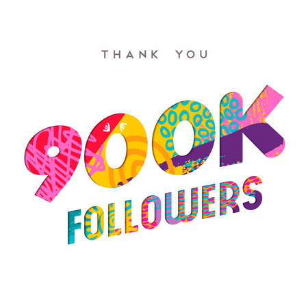 900000 followers thank you paper cut number illustration. Special 900k user goal celebration for nine hundred thousand social media friends, fans or subscribers. EPS10 vector. Illustration