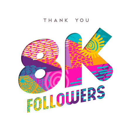8000 followers thank you paper cut number illustration. Special 8k user goal celebration for eight thousand social media friends, fans or subscribers. EPS10 vector. Ilustrace