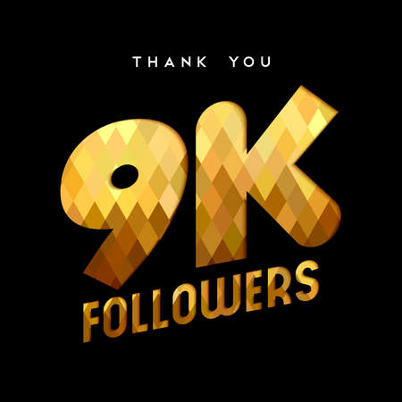 9000 followers thank you gold paper cut number illustration. Special 9k user goal celebration for nine thousand social media friends, fans or subscribers. EPS10 vector. Ilustrace