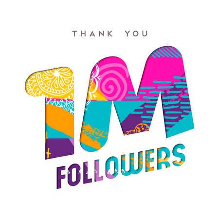 1 million followers thank you paper cut number illustration. Special user goal celebration for 1000000 social media friends, fans or subscribers. EPS10 vector. Reklamní fotografie - 82878993