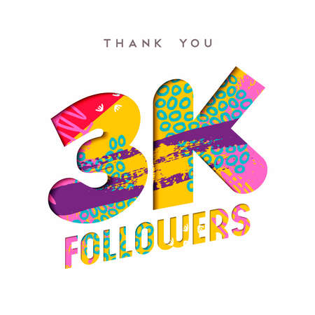 3000 followers thank you paper cut number illustration. Special 3k user goal celebration for three thousand social media friends, fans or subscribers. EPS10 vector.