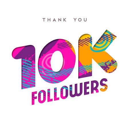 subscriber: 10000 followers thank you paper cut number illustration. Special 10k user goal celebration for ten thousand social media friends, fans or subscribers. EPS10 vector.