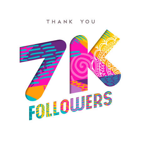 7000 followers thank you paper cut number illustration. Special 7k user goal celebration for seven thousand social media friends, fans or subscribers. EPS10 vector.