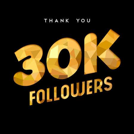 30000 フォロワーありがとうございます金紙はカット数の図です。特別な 30 k ユーザー ゴール 3 万ソーシャル メディア友達、ファンまたはサブスクラ