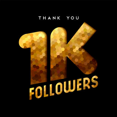 1000 followers thank you gold paper cut number illustration. Special 1k user goal celebration for one thousand social media friends, fans or subscribers. EPS10 vector.