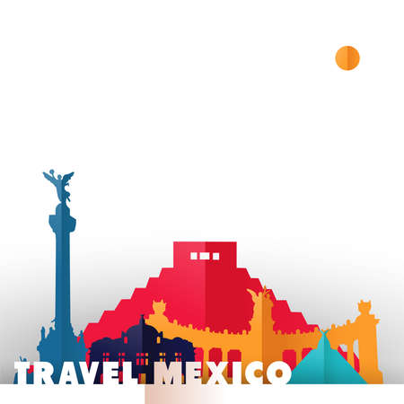 Travel Mexico concept illustration in paper cut style, famous world landmarks of mexican country. Includes Aztec pyramid, monument to independence, fine arts palace. EPS10 vector.