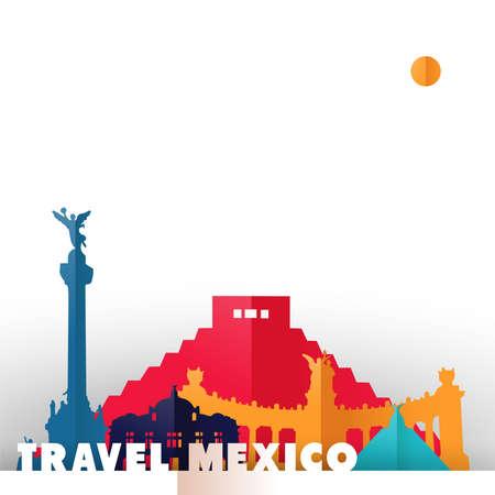 Viajes Ilustración de concepto de México en el estilo de corte de papel, famosas marcas mundiales del país mexicano. Incluye pirámide azteca, monumento a la independencia, palacio de bellas artes. EPS10 vector.
