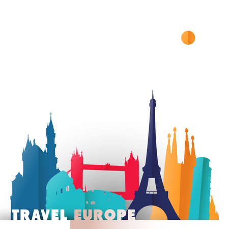 Illustrazione di concetto di viaggio Europa in stile taglio carta, famosi monumenti del mondo dei paesi europei. Include la torre Eiffel, il ponte di Londra, il Colosseo di Roma. Vettore EPS10. Archivio Fotografico - 83232200