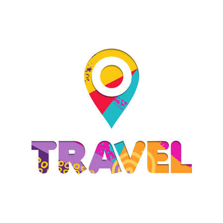 Summer vacation travel quote with gps location icon in paper cut style. Colorful fun typography sign. EPS10 vector.