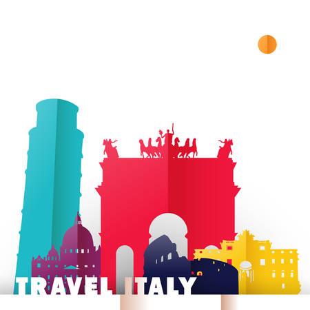 Illustrazione di concetto di viaggio italiana in stile tagliato a carta, famosi simboli del mondo italiano. Include la torre di Pisa, il Colosseo romano, la fontana di Trevi. Vettore EPS10. Archivio Fotografico - 83232203
