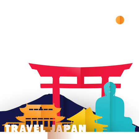 Travel Japan concept illustration in paper cut style, famous world landmarks of Japanese country. Includes Buddha statue, Mount Fuji, ancient temples.
