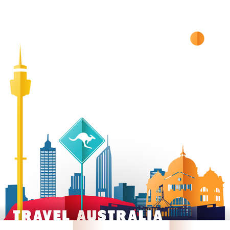 Travel Australia concept illustration in paper cut style, famous world landmarks of Australian country. Includes Sydney tower, kangaroo sign, Melbourne railway station. EPS10 vector.