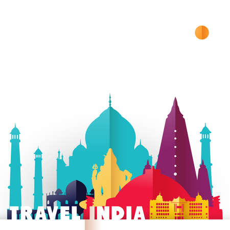 Travel India concept illustration in paper cut style, famous world landmarks of Indian country. Includes Taj Mahal, Shiva statue, Buddhist temples. EPS10 vector. Illustration