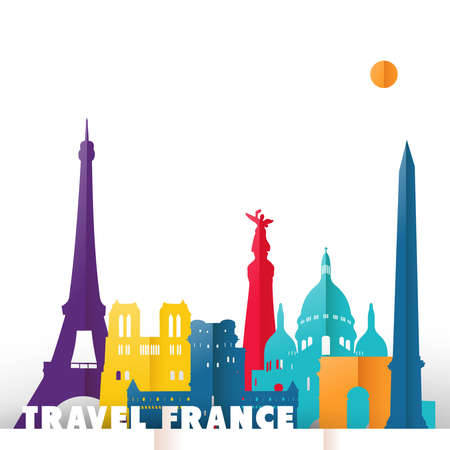 Travel France concept illustration in paper cut style, famous world landmarks of French country. Includes Eiffel tower, Notre Dame church, triumph arch. EPS10 vector.