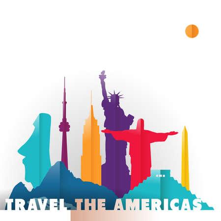 紙のカット スタイル、南および北アメリカの国の有名な世界のランドマークでアメリカの概念図を旅行します。自由の彫像、メキシコのピラミッド  イラスト・ベクター素材