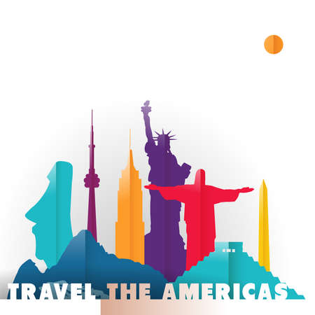 Travel the Americas concept illustration in paper cut style, famous world landmarks of South and North America countries. Includes liberty statue, Mexico pyramid, Toronto tower. EPS10 vector. Çizim