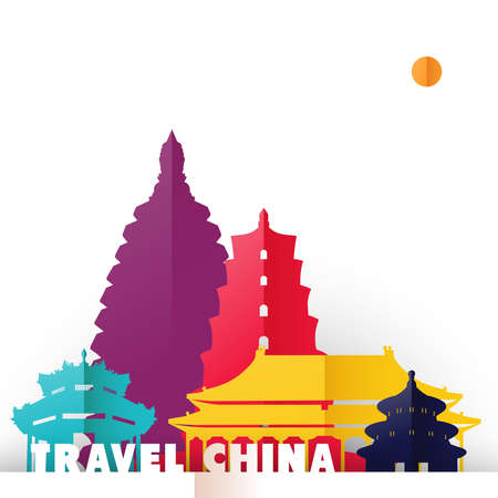 Travel China concept illustration in paper cut style, famous world landmarks of Chinese country. Includes forbidden city, heaven temple, ancient pagodas. EPS10 vector. Stock fotó - 83232205